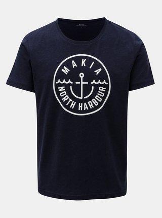 Tricou albastru inchis cu print Makia Crown