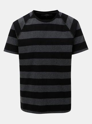 Tricou negru-gri in dungi cu maneci scurte Makia Keel