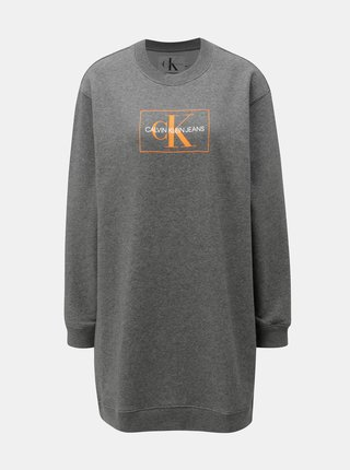 Sivé melírované mikinové šaty s potlačou Calvin Klein Jeans