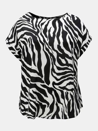 Tricou alb-negru cu model si fermoar la spate Dorothy Perkins Curve