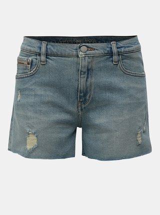 Světle modré džínové kraťasy s potrhaným efektem Calvin Klein Jeans