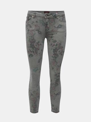 Šedé zkrácené regular skinny fit džíny s nízkým pasem ONLY