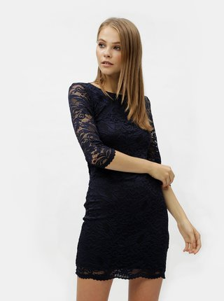 Rochie albastru inchis din dantela cu decupaj la spate VERO MODA Sandra