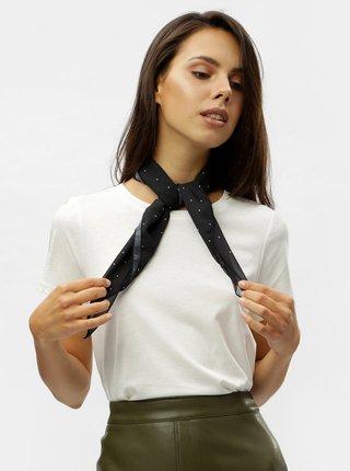 Biele tričko s bodkovanou šatkou VERO MODA Scarf