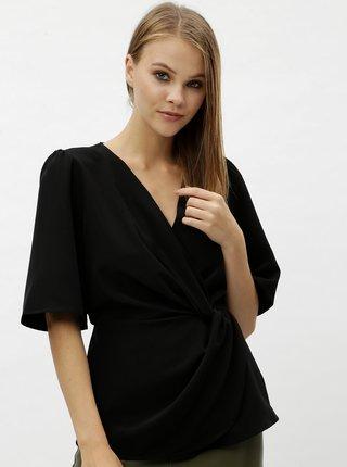 Bluza neagra cu decolteu suprapus VERO MODA Elsa