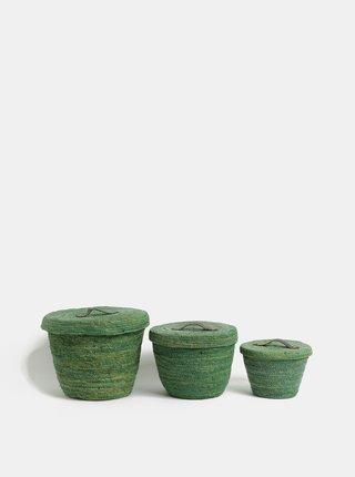Súprava troch košov v zelenej farbe Kaemingk