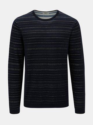 Tmavě modrý pánský pruhovaný svetr Garcia Jeans