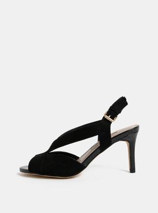 Čierne sandále v semišovej úprave na ihličkovom podpätku Dorothy Perkins Britney