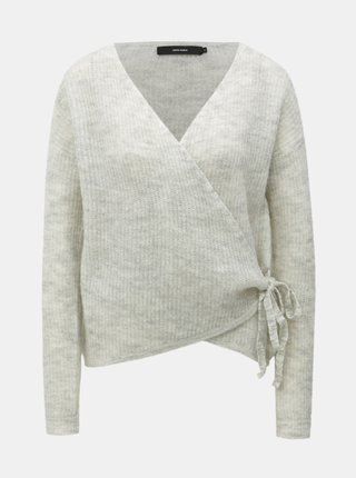 Krémový vlněný žíhaný zavinovací svetr VERO MODA