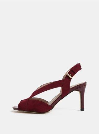Sandale visinii din textil cu aspect de piele intoarsa si toc cui Dorothy Perkins Britney
