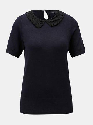 Tricou albastru inchis cu guler din dantela Dorothy Perkins