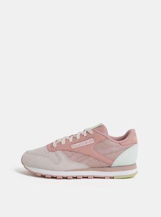 Ružové dámske kožené tenisky Reebok Classic