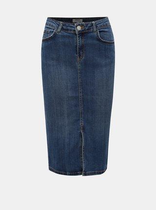 Modrá rifľová rovná sukňa s rozparkom Dorothy Perkins