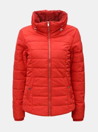 Jacheta de iarna rosie crop cu blana artificiala Dorothy Perkins