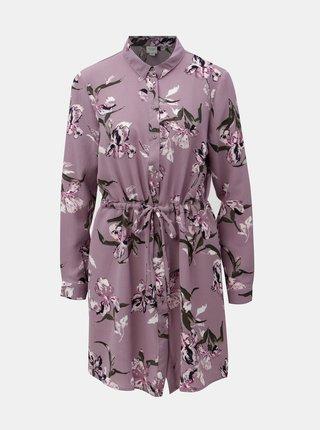 Fialové květované košilové šaty se zavazováním Jacqueline de Yong Run