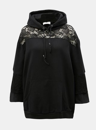 Bluza sport neagra oversized cu dantela ELVI