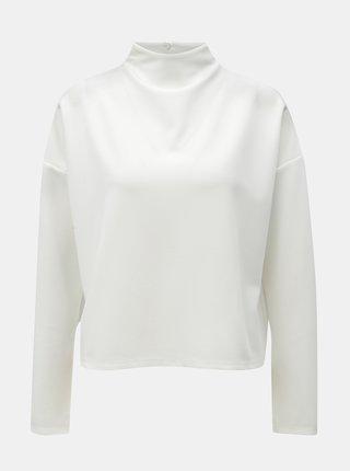 Tricou alb structurat oversized cu guler inalt Noisy May