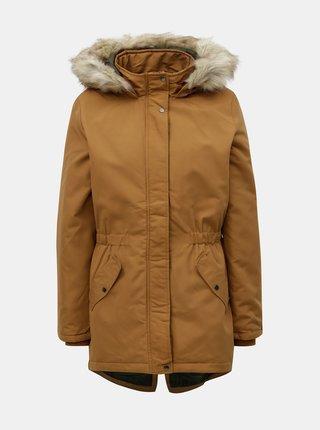 Hnedá dlhá zimná bunda Jacqueline de Yong Star
