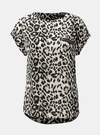 Tricou negru-bej cu model leopard si buzunar la piept Dorothy Perkins