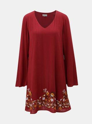 Červené šaty s výšivkou a zvonovými rukávmi Apricot