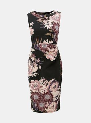 Rochie visiniu-negru florala cu pliuri laterale Apricot