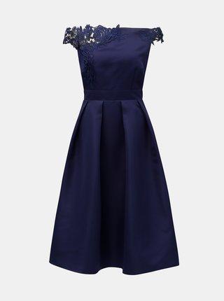 Rochie albastru inchis cu dantela si decolteu pe umeri Little Mistress