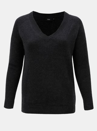 Pulover gri inchis cu amestec de lana Zizzi Camilla