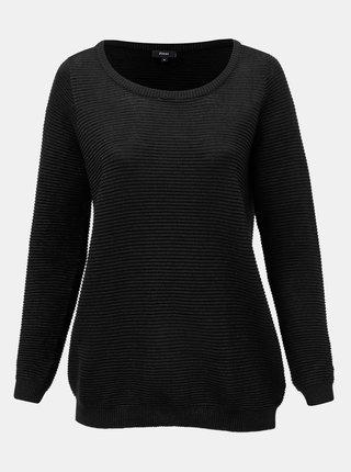 Čierny rebrovaný trblietavý sveter Zizzi Cuba