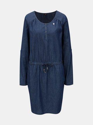 Rochie albastru inchis din denim cu snur in talie Ragwear Danila