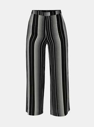 Pantaloni lejeri alb-negru in dungi cu talie inalta Miss Selfridge Petites
