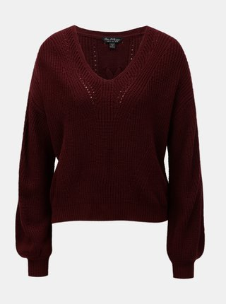 Pulover bordo cu decolteu in V si maneci lejere Miss Selfridge