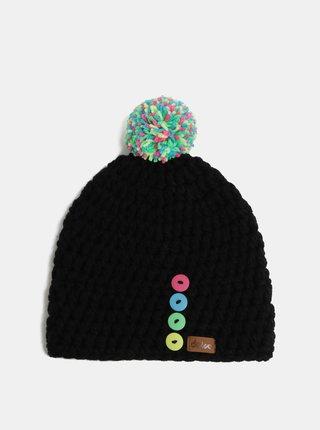 Čierna pletená zimná čiapka s brmbolcom DOKE