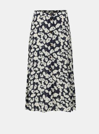 Bílo-modrá midi sukně s motivem ginkgo biloby VERO MODA Venice