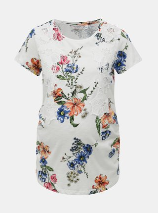 Biele kvetované tehotenské tričko s čipkou Dorothy Perkins Maternity