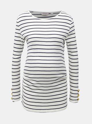 Modro-bílé pruhované těhotenské tričko s knoflíky na rukávech Dorothy Perkins Maternity