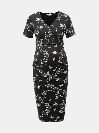 Černé květované těhotenské šaty s překládaným výstřihem Dorothy Perkins Maternity