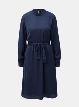 Tmavomodré šaty s dlhým rukávom VERO MODA Billia