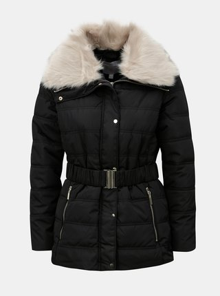 Čierna zimná bunda s odnímateľným golierom z umelej kožušinky Dorothy Perkins Petite