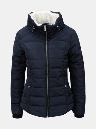 Tmavě modrá prošívaná bunda s vysokým límcem Dorothy Perkins Petite