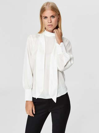 Bluza alba cu snur Selected Femme Quinn