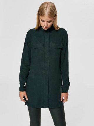 Camasa verde inchis mai lunga Selected Femme Frita