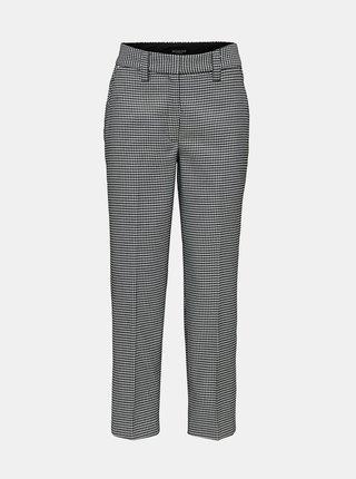 Bílo-černé vzorované zkrácené kalhoty s vysokým pasem Selected Femme Holla