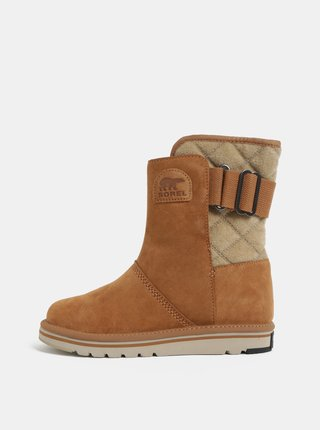 Světle hnědé dámské semišové zimní boty SOREL Newbie