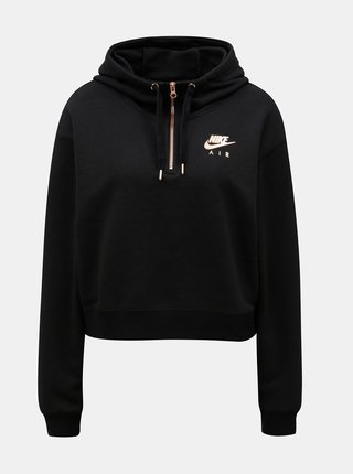Hanorac de dama negru lejer crop Nike
