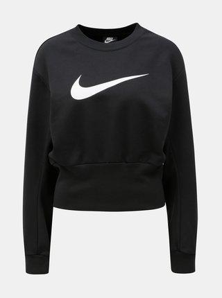 Bluza sport de dama crop lejera neagra cu imprimeu Nike Crew