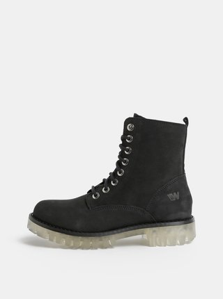 Černé dámské kožené kotníkové boty Weinbrenner