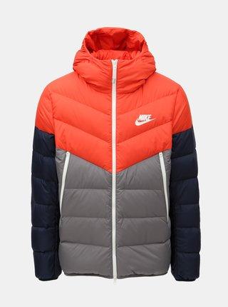 Jacheta barbateasca gri-rosu de puf Nike Fill