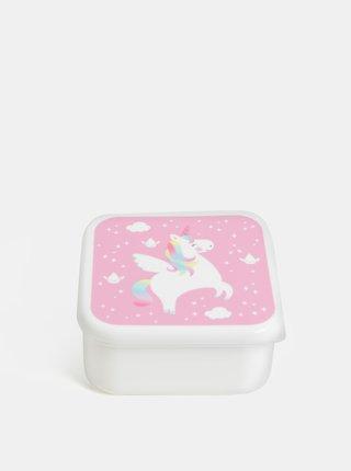 Růžovo-bílý  svačinový box s jednorožcem Sass & Belle Rainbow Unicorn