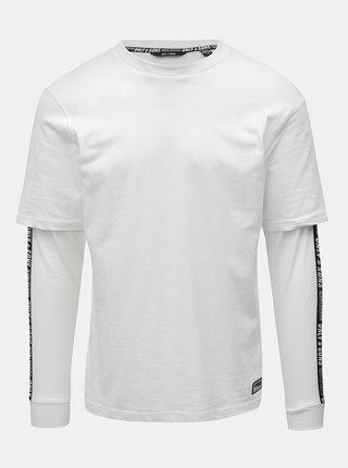 Biele tričko s pruhmi na rukávoch ONLY & SONS Feivel