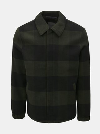 Černo-zelená kostkovaná lehká bunda s příměsí vlny ONLY & SONS Shawn